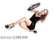 Купить «Девушка в черном платье с веером», фото № 2049939, снято 30 июля 2010 г. (c) Сергей Дубров / Фотобанк Лори