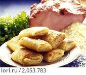 Купить «Блинчики с рисом, мясом и зеленью», фото № 2053783, снято 12 октября 2010 г. (c) Никита Жигелев / Фотобанк Лори