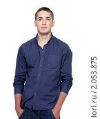 Купить «Портрет молодого мужчины в синей рубашке», фото № 2053875, снято 26 августа 2010 г. (c) Валуа Виталий / Фотобанк Лори