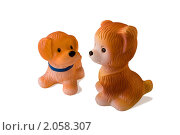 Купить «Две детские игрушки - резиновые собачки», фото № 2058307, снято 12 февраля 2007 г. (c) Солодовникова Елена / Фотобанк Лори