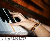 Купить «Пальцы на клавишах пианино», фото № 2061727, снято 15 октября 2010 г. (c) Миленин Константин / Фотобанк Лори