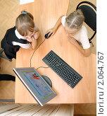 Купить «Школьники за компьютером», эксклюзивное фото № 2064767, снято 21 сентября 2010 г. (c) Вячеслав Палес / Фотобанк Лори