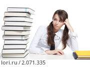 Купить «Школьница с книгами», фото № 2071335, снято 25 июля 2010 г. (c) Сергей Новиков / Фотобанк Лори