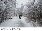 Купить «Снегопад в городе», фото № 2076499, снято 16 октября 2010 г. (c) Мария Шачнева / Фотобанк Лори
