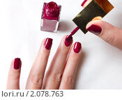 Купить «Женщина красит ногти», фото № 2078763, снято 16 октября 2010 г. (c) Роман Кокорев / Фотобанк Лори
