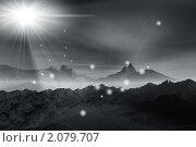 Купить «Ночь в горах и волшебный свет», иллюстрация № 2079707 (c) ElenArt / Фотобанк Лори