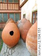 Большие старинные глиняные кувшины для вина (2009 год). Стоковое фото, фотограф Сергей Салдаев / Фотобанк Лори