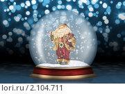 Купить «Стеклянный шар с  Санта-Клаусом», иллюстрация № 2104711 (c) Сергей Галушко / Фотобанк Лори