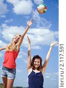 Купить «Девушки играют в волейбол», фото № 2117591, снято 6 июля 2010 г. (c) Яков Филимонов / Фотобанк Лори