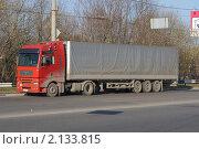 Купить «Тягач MAN c тентованым прицепом стоит на обочине дороги», фото № 2133815, снято 30 октября 2010 г. (c) Александр Шилин / Фотобанк Лори