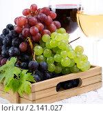 Купить «Вино и виноград», фото № 2141027, снято 25 сентября 2010 г. (c) Наталия Кленова / Фотобанк Лори