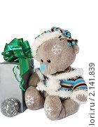 Купить «Плюшевый мишка с новогодним подарком и шаром на белом фоне», фото № 2141839, снято 8 ноября 2010 г. (c) Светлана Зарецкая / Фотобанк Лори