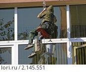 Промышленный альпинизм. Мойщик окон. Москва (2008 год). Стоковое фото, фотограф lana1501 / Фотобанк Лори