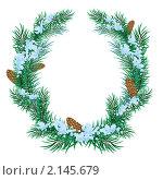 Купить «Рождественский венок из еловый веток», иллюстрация № 2145679 (c) Алексей Григорьев / Фотобанк Лори