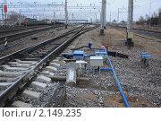 Автоматическая железнодорожная стрелка. Стоковое фото, фотограф Василий Кореньков / Фотобанк Лори