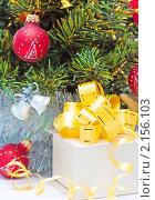 Купить «Подарочная коробка под елкой», фото № 2156103, снято 22 ноября 2010 г. (c) Екатерина Тарасенкова / Фотобанк Лори