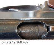 Купить «Окно выбрасывателя гильз пистолета системы Макарова крупным планом», фото № 2168487, снято 24 ноября 2010 г. (c) Денис Шашкин / Фотобанк Лори
