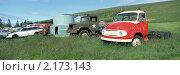 Панорама свалки старых автомобилей. Стоковое фото, фотограф Leksele / Фотобанк Лори