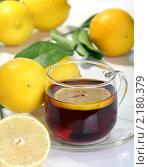 Купить «Чай с лимоном», фото № 2180379, снято 28 ноября 2010 г. (c) Марина Сапрунова / Фотобанк Лори