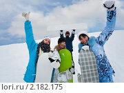 Купить «Четыре сноубордиста», фото № 2182175, снято 16 января 2010 г. (c) Бабенко Денис Юрьевич / Фотобанк Лори