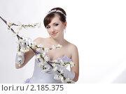 Портрет красивой невесты с цветами. Стоковое фото, фотограф SvetlanaPanteleeva / Фотобанк Лори