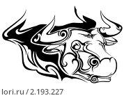 Голова быка c элементами узора. Стоковая иллюстрация, иллюстратор Игорь Бахтин / Фотобанк Лори