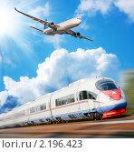 Купить «Коллаж с видами скоростного транспорта», фото № 2196423, снято 21 августа 2018 г. (c) Екатерина Тарасенкова / Фотобанк Лори