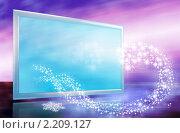 Купить «Абстрактная новогодняя открытка с экраном телевизора и волной звезд-снежинок в футуристических цветах», иллюстрация № 2209127 (c) Александр Куличенко / Фотобанк Лори