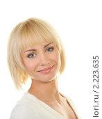 Купить «Привлекательная блондинка на белом фоне», фото № 2223635, снято 9 февраля 2010 г. (c) Andrejs Pidjass / Фотобанк Лори