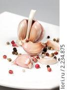 Купить «Специи - чеснок и разный перец», фото № 2234875, снято 7 августа 2009 г. (c) ElenArt / Фотобанк Лори