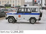 Купить «Милицейский уазик на улице города», фото № 2244283, снято 22 декабря 2010 г. (c) Александр Шилин / Фотобанк Лори