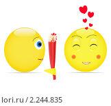 Парень дарит девушке цветы. Стоковая иллюстрация, иллюстратор Андрей Кидинов / Фотобанк Лори
