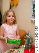 Купить «Девочка с новогодним подарком», фото № 2245543, снято 22 декабря 2010 г. (c) Лена Лазарева / Фотобанк Лори