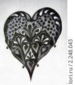 Черное сердце. Стоковая иллюстрация, иллюстратор Фомченкова Юлия / Фотобанк Лори