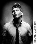 Купить «Портрет привлекательного молодого человека со стильной прической», фото № 2249107, снято 3 марта 2005 г. (c) Майер Георгий Владимирович / Фотобанк Лори