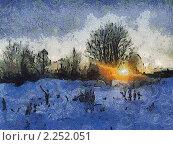 Зимний закат. Стоковая иллюстрация, иллюстратор Фомченкова Юлия / Фотобанк Лори