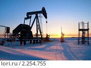 Купить «Нефтяной станок-качалка на фоне восходящего солнца», фото № 2254755, снято 2 января 2011 г. (c) Икан Леонид / Фотобанк Лори