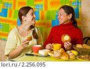 Купить «Мама с дочерью пьют чай на кухне», фото № 2256095, снято 5 октября 2010 г. (c) Яков Филимонов / Фотобанк Лори