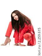 Купить «Девушка в красном», фото № 2259615, снято 3 октября 2009 г. (c) Сергей Сухоруков / Фотобанк Лори