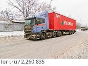 """Купить «Тягач контейнеровоз """"Scania"""" ( Скания )», эксклюзивное фото № 2260835, снято 28 декабря 2010 г. (c) Алёшина Оксана / Фотобанк Лори"""
