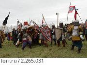 Куликовская битва, историческая реконструкция, сражение (2008 год). Редакционное фото, фотограф Денис Трубецкой / Фотобанк Лори