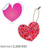 Розовые и белые этикетки в виде сердец. Стоковая иллюстрация, иллюстратор Андрей Кидинов / Фотобанк Лори