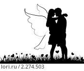 Купить «Силуэт романтичной парочки», иллюстрация № 2274503 (c) Евгения Малахова / Фотобанк Лори