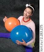 Купить «Девушка с воздушными шариками», фото № 2283275, снято 22 февраля 2009 г. (c) Лена Лазарева / Фотобанк Лори