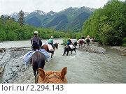 Купить «Переправа на лошадях через реку Кизгыч возле Архыза», фото № 2294143, снято 17 июня 2009 г. (c) Владимир Горощенко / Фотобанк Лори