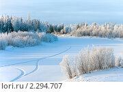 Купить «Зимний пейзаж. Следы снегохода на замерзшей реке.», фото № 2294707, снято 23 января 2011 г. (c) Икан Леонид / Фотобанк Лори