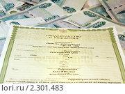 Купить «Свидетельство о рождении на фоне денег», фото № 2301483, снято 26 января 2011 г. (c) Александр Фисенко / Фотобанк Лори