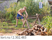 Купить «Мальчик пилит дрова», фото № 2302483, снято 8 августа 2010 г. (c) Майя Крученкова / Фотобанк Лори