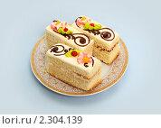 Купить «Три пирожных лежат на тарелке», фото № 2304139, снято 26 января 2011 г. (c) Alechandro / Фотобанк Лори