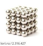 Купить «Куб из маленьких металлических магнитных шариков», фото № 2316427, снято 6 февраля 2010 г. (c) Losevsky Pavel / Фотобанк Лори